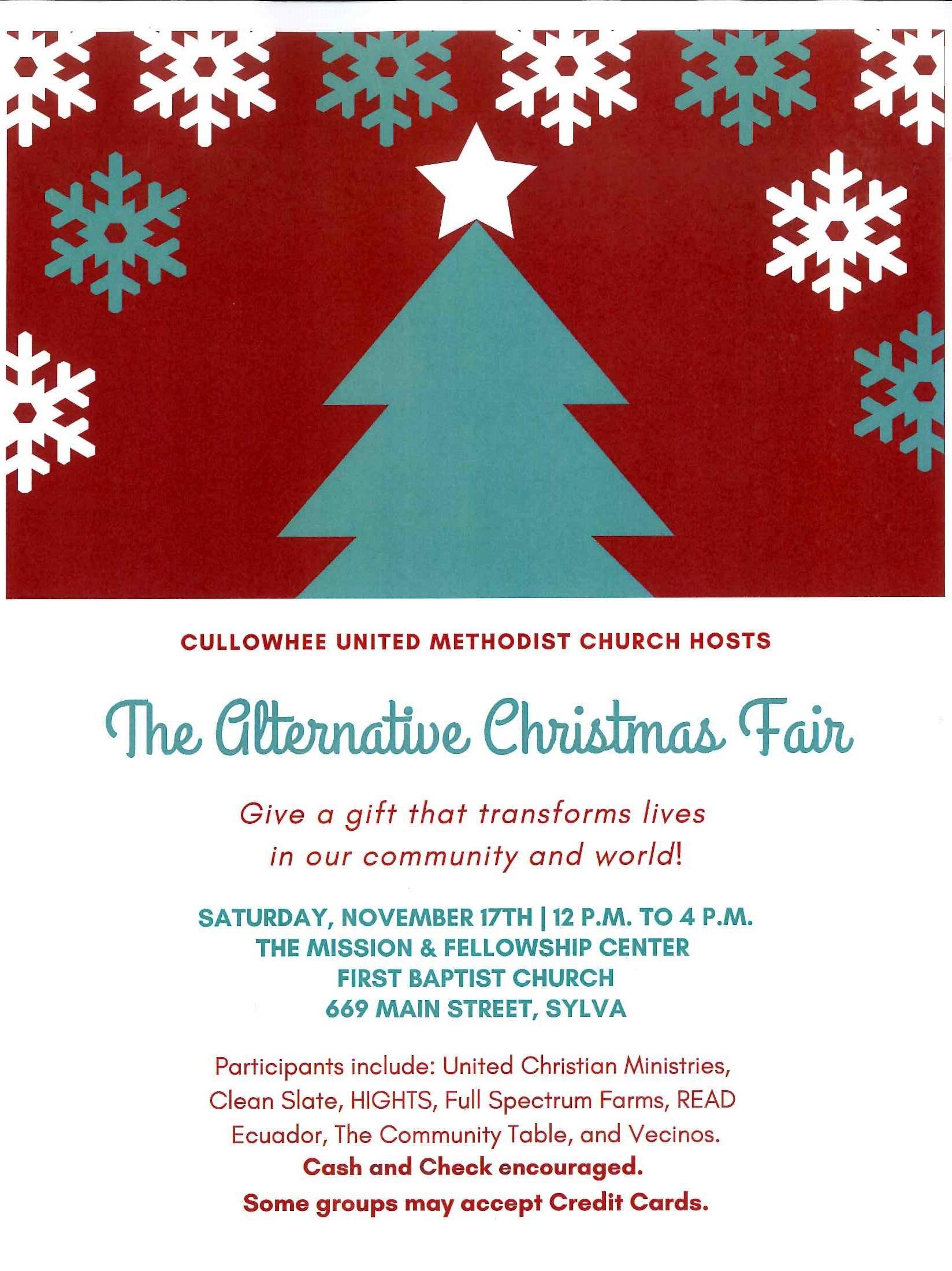Alternative Christmas Fair November 17, 2018 – Cullowhee United ...